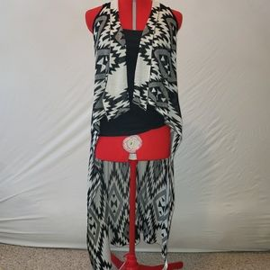 Black and White Long Cardigan